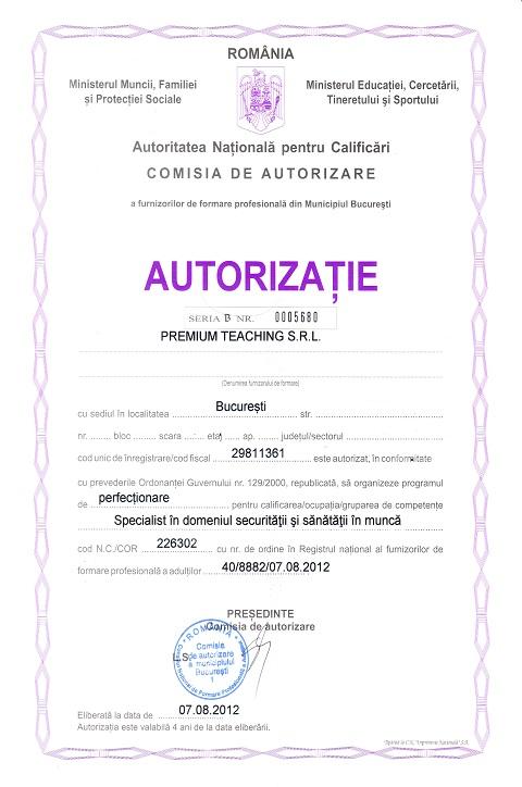 autorizatie curs specialist ssm